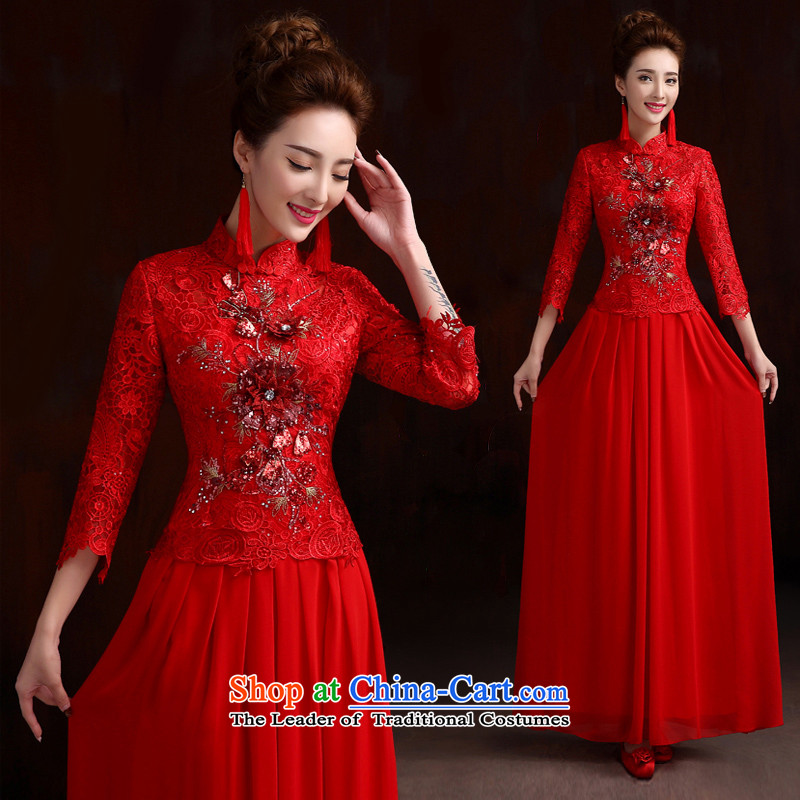 Pure Love bamboo yarn bride in the dress cuff bows qipao gown long improvement embroidery cheongsam bride wedding dress retro cheongsam red made XXL
