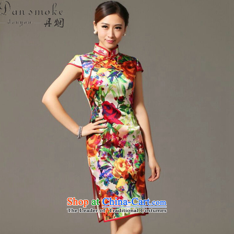 Dan smoke summer Ms. new heavyweight Silk Cheongsam improved retro elegant collar herbs extract cheongsam dress聽3XL Figure Color