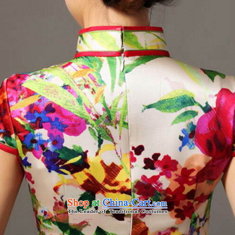 Dan smoke summer Ms. new heavyweight Silk Cheongsam improved retro elegant collar herbs extract cheongsam dress Figure Color聽3XL, Dan Smoke , , , shopping on the Internet