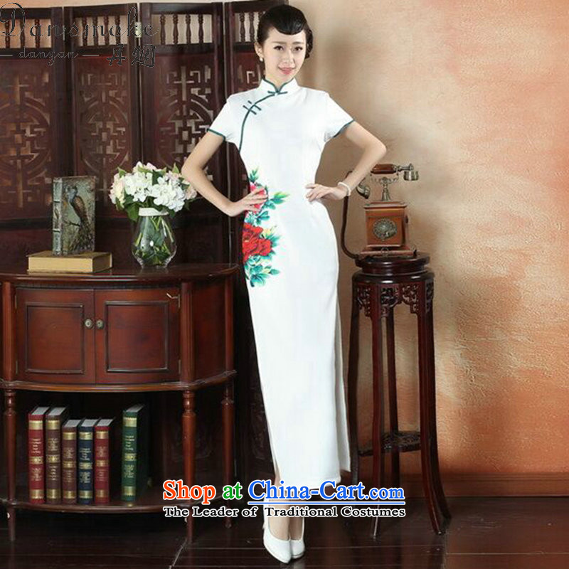 Dan Xia, ethnic smoke dress cheongsam dress stylish improved Chinese collar hand-painted retro long cheongsam dress Figure?2XL color