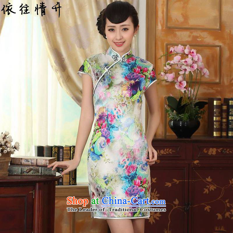 In accordance with the love in a trendy new for women of ethnic Chinese Tang dynasty improved poster Sau San Tong loaded short, double-decker cheongsam dress?LGD/Z0006#?picture color?S
