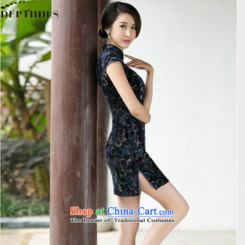 2015 Summer DEPTHDES new stylish boutique embroidered dress cheongsam dress velour improved Sau San retro short-sleeved cheongsam dress dresses female picture color?S
