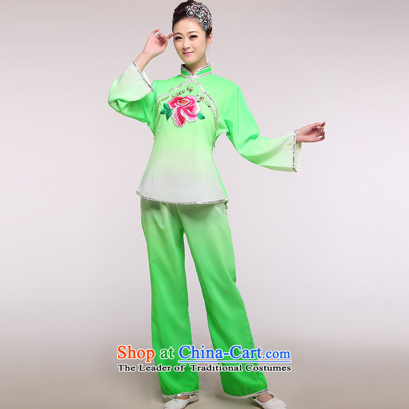 The national costumes female stage yangko replacing dance wearing square dance by performing clothing Fan Dance lime green pendants?XL