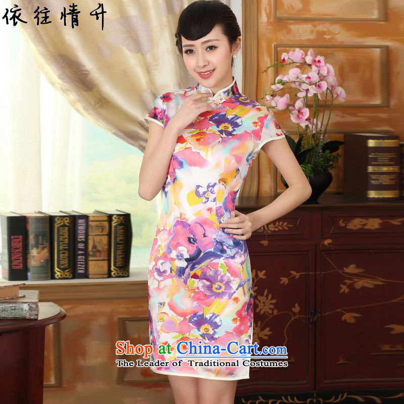 In accordance with the new l love women retro ethnic improved Tang dynasty stamp Sau San Tong replacing QIPAO) short skirt?LGD/Z0017#?picture color?L