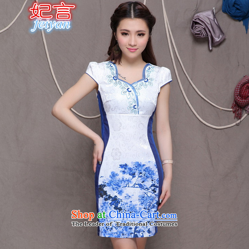 Statements were made by the princess of�          2015 National wind stylish embroidery cheongsam Chinese cheongsam dress daily retro _9906 blue qipao Sau San燣