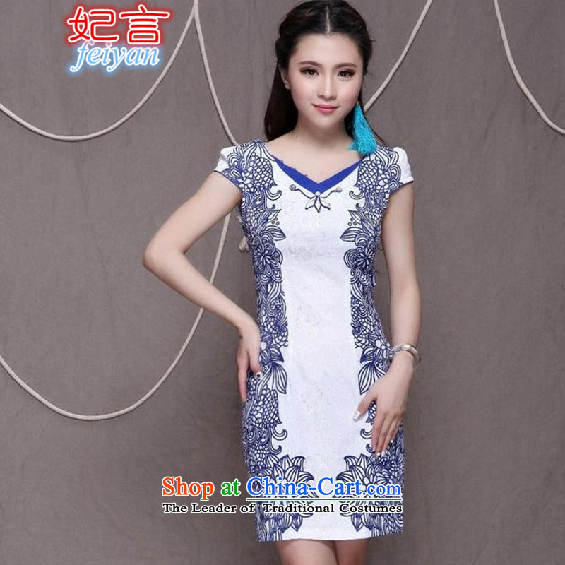 Statements were made by the?             2015 National wind princess stylish Chinese cheongsam dress retro graphics thin cheongsam #9912 Sau San blue?XL