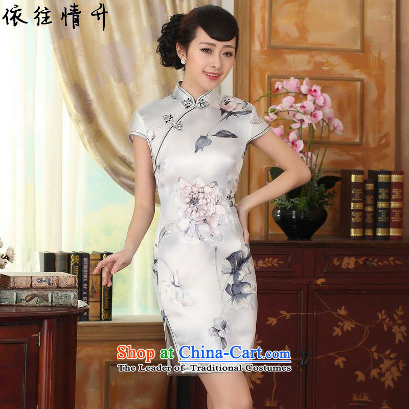 In accordance with the new l love women retro ethnic improved Tang dynasty collar short of the need to come to grips with stamp Sau San Tong replacing cheongsam dress LGD/Z0013# picture color M