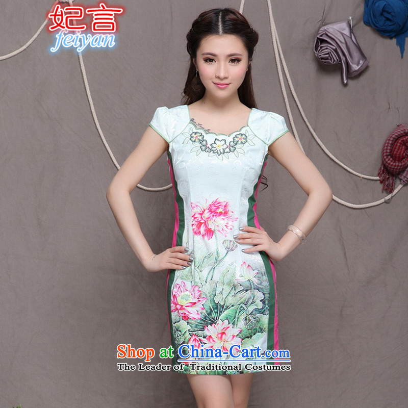 Statements were made by the princess of?          2015 China wind stylish ethnic refined elegance improved cheongsam dress #9909 picture color?S