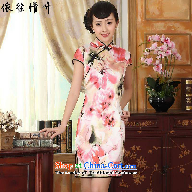 In accordance with the new l love women retro improved Tang Dynasty is pressed to collar stamp short-sleeved Sau San Tong replacing cheongsam dress?LGD/Z0012#?picture color?L