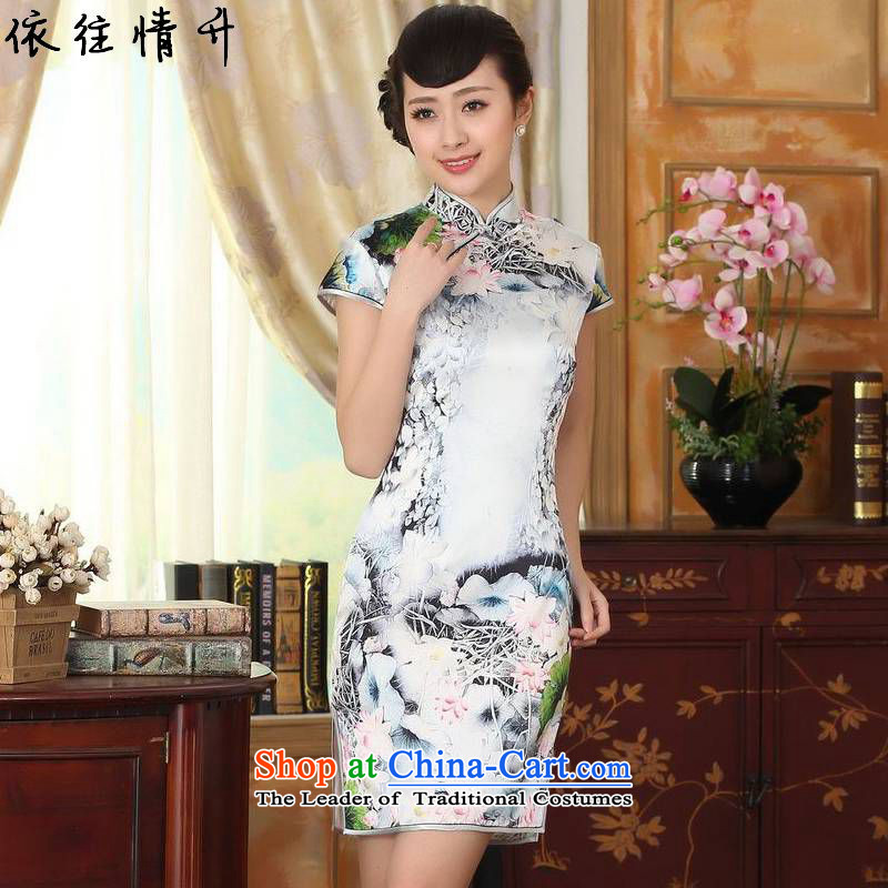 In accordance with the new l love women of ethnic improved poster Tang MOUNTING ANGLED ends up tie short-sleeved Sau San Tong replacing cheongsam dress聽LGD_Z0011_聽picture color聽2XL