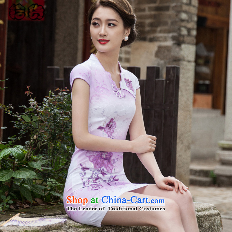 The 2015 summer pickup stylish short-the forklift truck cheongsam dress retro China wind fresh flower embroidery daily   elegant package and skirt dress violet S Cheongsam