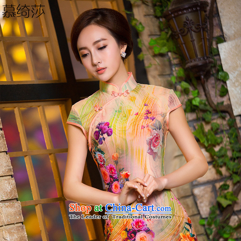 The cross-sa�15 summer clothing is an integral purple China wind elegant arts short of daily improved cheongsam dress QD 154 XL