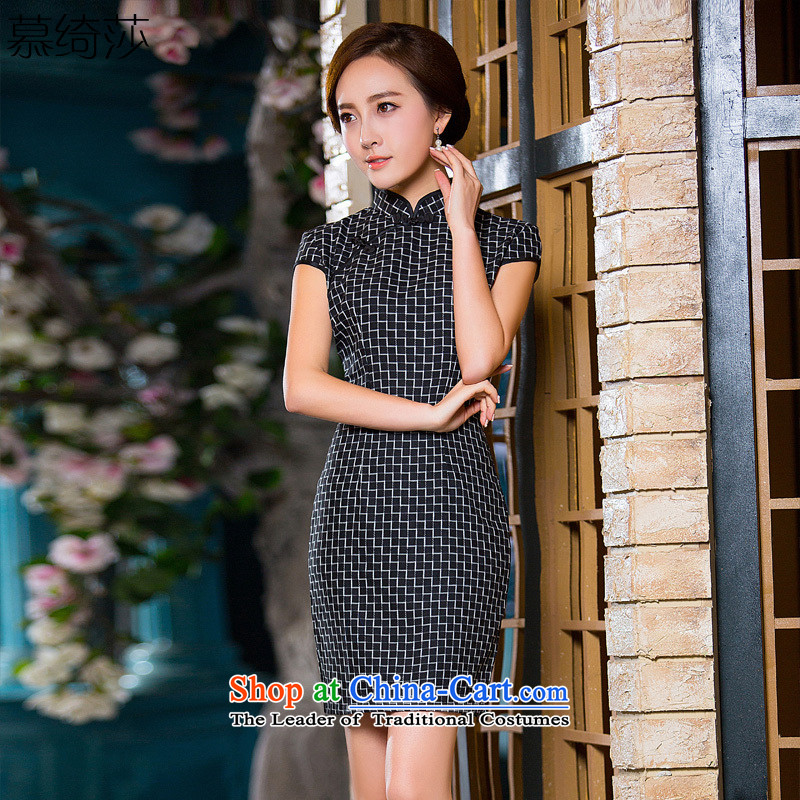 The cross-sa, code�15 Spring_Summer Chinese classic wind cheongsam dress daily temperament checked short of qipao skirt燪D 182 2XL