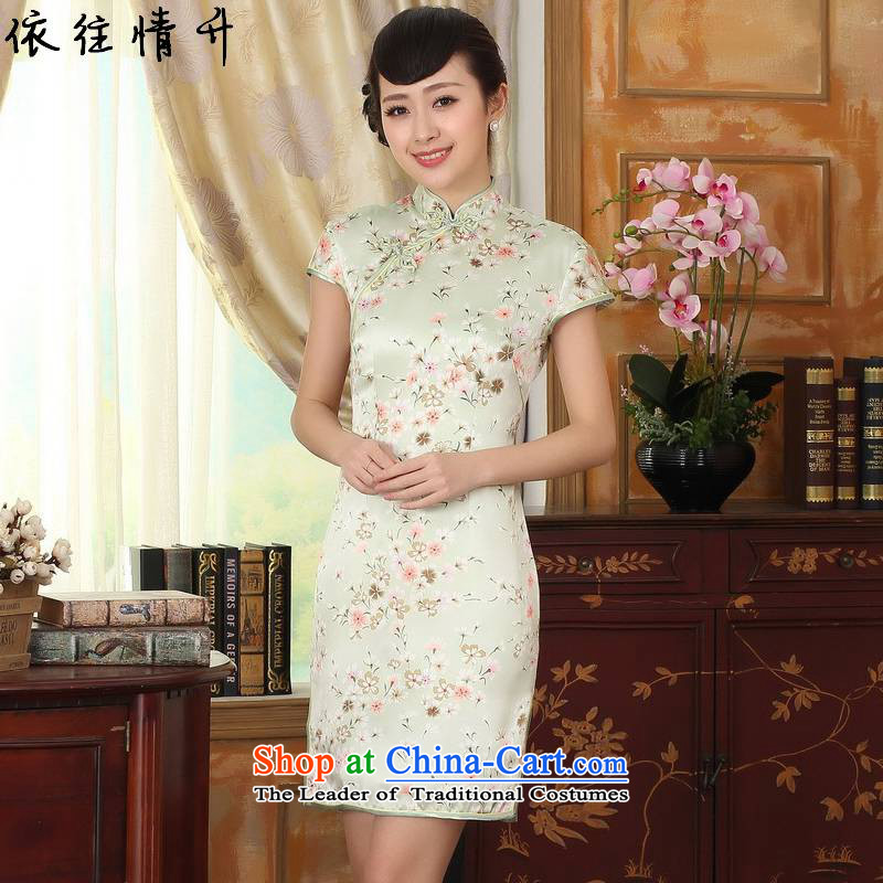 In accordance with the love in a trendy new for women of nostalgia for the improvement of the skirt Classic tray clip short of Sau San Tong replacing cheongsam dress LGD/Z0009# figure M