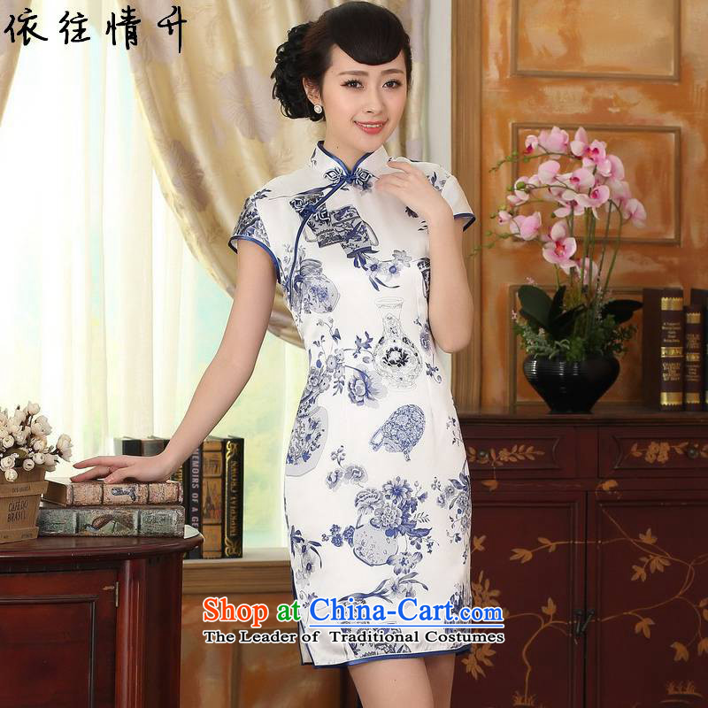 In accordance with the new l love women of ethnic Chinese improved Dresses Need to come to grips collar short-sleeved Sau San Tong suit load cheongsam dress?LGD/Z0003#?figure?S