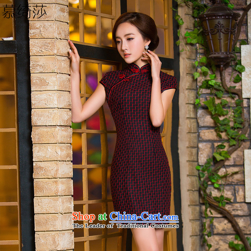 The cross-sa red stripes retro lattices, Sau San short cheongsam dress everyday dress qipao improved燪D 185 L