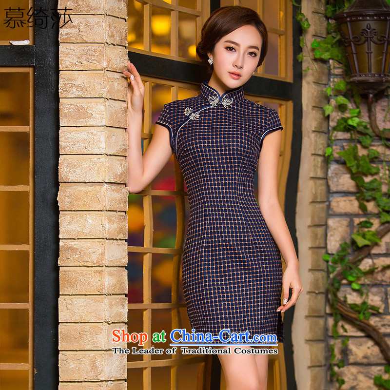 The former Yugoslavia Mrs Elizabeth cross-ethnic new retro latticed cheongsam dress short, improved qipao gown燪D 186 2XL