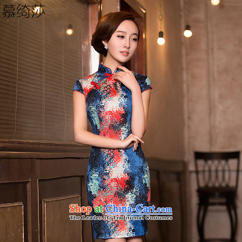 The cross-sa?2015 ethnic retro rendering stamp Sau San video thin cheongsam dress daily liturgical short-sleeved qipao summer?QD 199 L