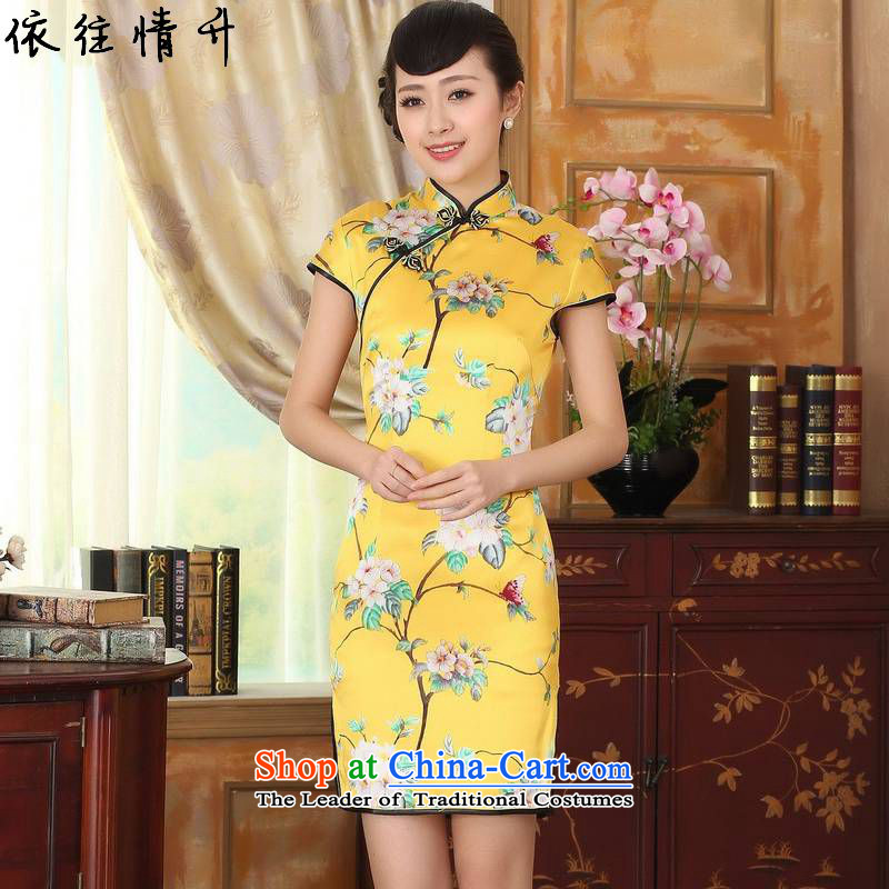 In accordance with the new l love women improved national wind retro Tang dynasty collar ramp up short of Sau San Tong replacing cheongsam dress燣gd_z0016_燳ellow�L