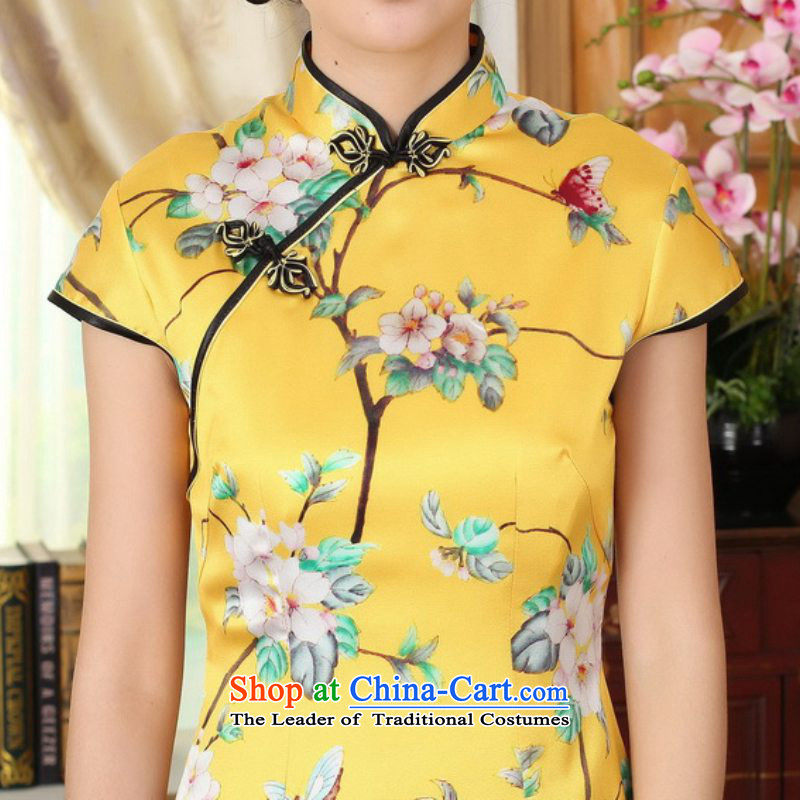In accordance with the new l love women improved national wind retro Tang dynasty collar ramp up short of Sau San Tong replacing cheongsam dress聽LGD/Z0016#聽聽2XL, yellow to love l , , , shopping on the Internet