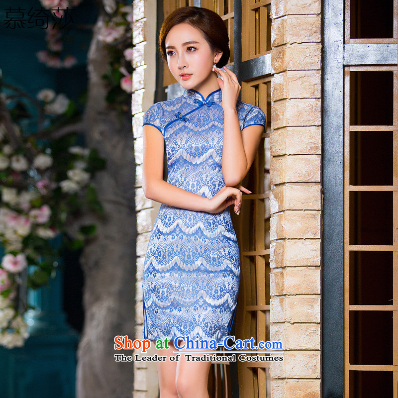 The cross-new?2015 Summer Cornflower Blue composite lace cheongsam dress summer daily improved cheongsam dress retro?QD 214 2XL
