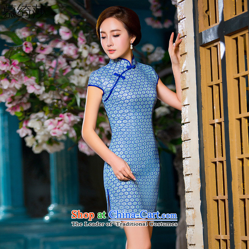 The cross-SA-jae-ching�15 Summer elegant lace knocked color cheongsam dress daily arts video thin qipao Sau San dress燪D 217 2XL