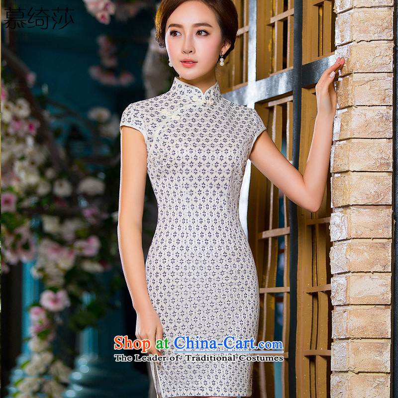 The cross-sa,聽2015 New daily Arabic improved qipao summer short skirt style qipao_ Sau San cheongsam dress聽QD 218 M