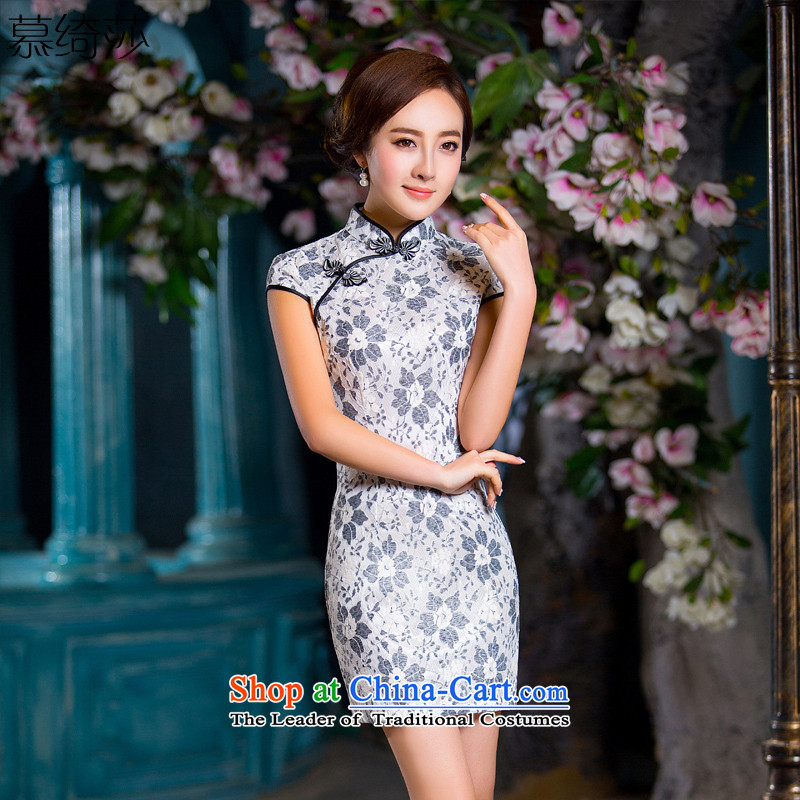 The Mona Lisa Yip Yee-friendly high-end lady lace composite skirt solid color improved cheongsam dress suit?QD 226 M