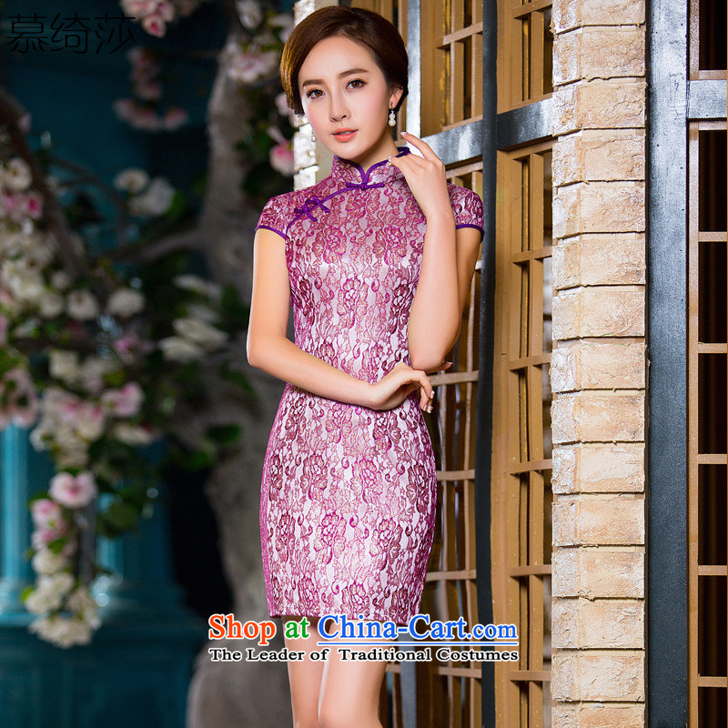 The cross-SA-hyung Yue population燽y 2015 Summer lace qipao and sexy dresses retro improved daily cheongsam dress suit燪D 227 L