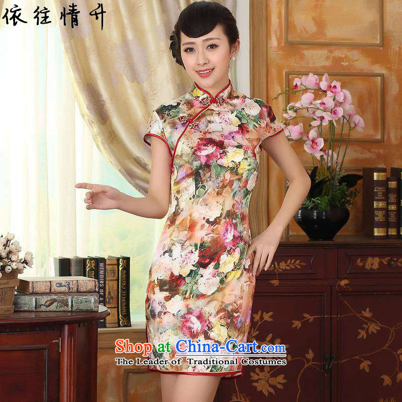 In accordance with the new l love women Retro classic Tang dynasty daily improved tray clip Tang dynasty, Sau San short cheongsam dress聽LGD_Z0010_聽figure聽L