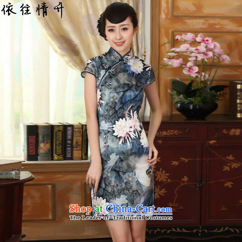In accordance with the new l love women retro Tang Dynasty Chinese improvement is pressed a mock-neck disc detained Sau San Tong loaded short-sleeved qipao skirt?LGD/Z0004#?figure?L