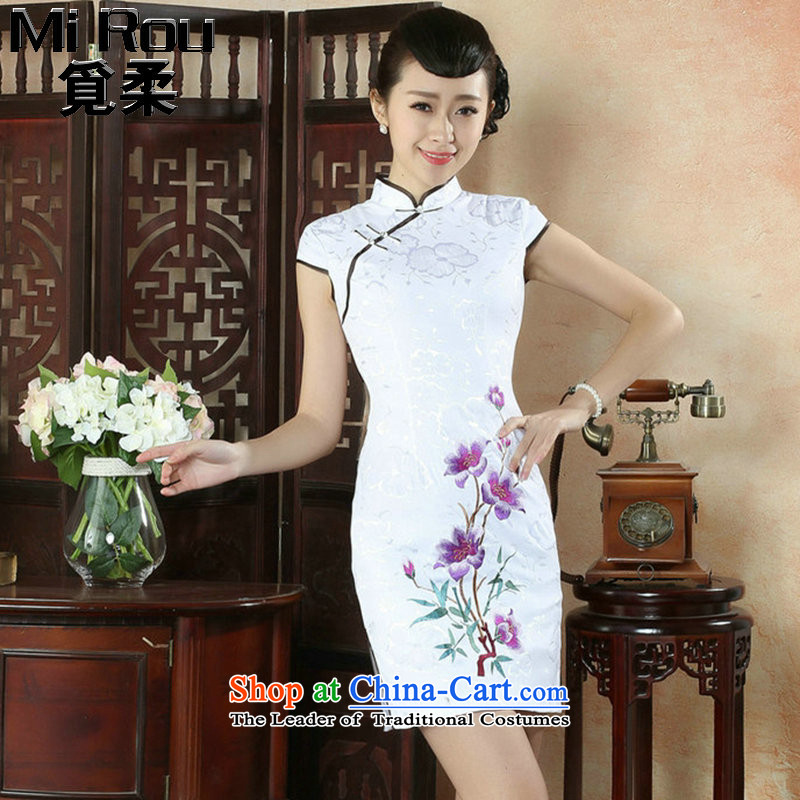 Ms. Sophie find qipao summer new Chinese improved collar embroidered light retro breasted cheongsam dress is purple L
