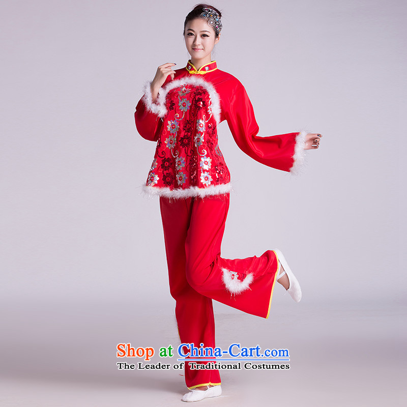 Service costumes yangko new people go Fan Dance Dance folk dance show services Square Red聽M