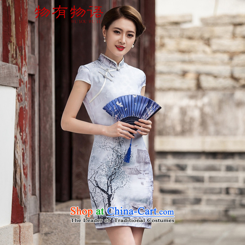 With a Chinese qipao China wind�15 Summer New Ink Painting Classic short-sleeved improved cheongsam dress燬
