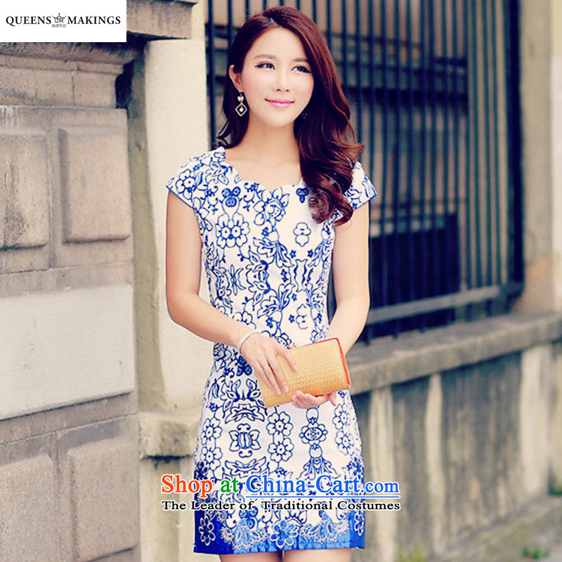 2015 Summer new ethnic women improved embroidery cheongsam Tang dynasty antique porcelain cheongsam dress 1610 dark blue�S