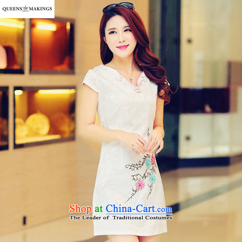 2015 Summer new retro improved Couture fashion ethnic cheongsam dress cotton jacquard short of Qipao 1611 m White燣