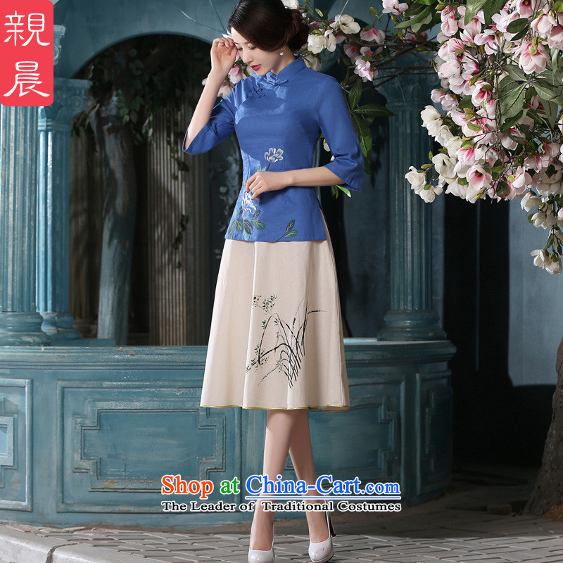 At 2015 new pro-autumn day-to-day summer in the reconstructed long improved blue cotton linen dresses qipao gown + T-shirt shirt聽M