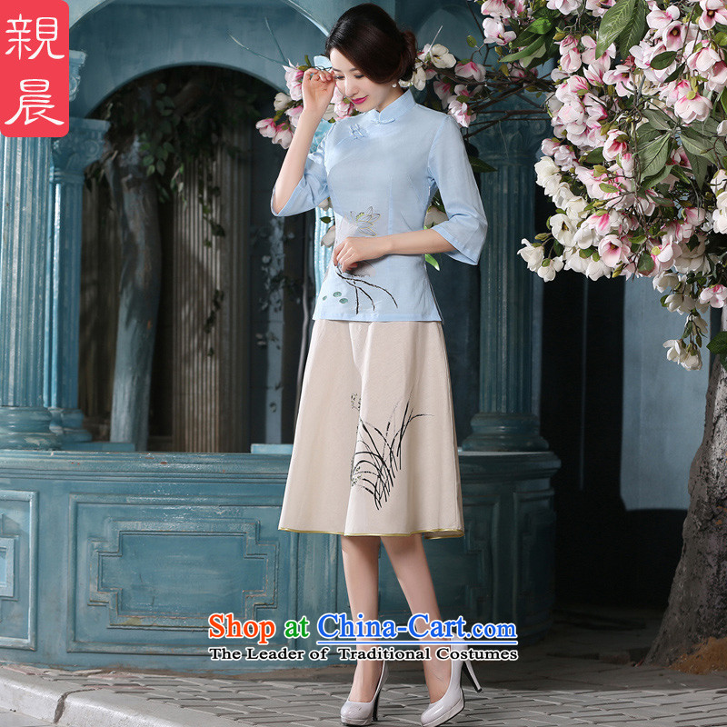 At 2015 new pro-autumn day summer long sleeves improvement retro cotton linen dresses qipao T-shirt, sleeved shirt + skirts燲L