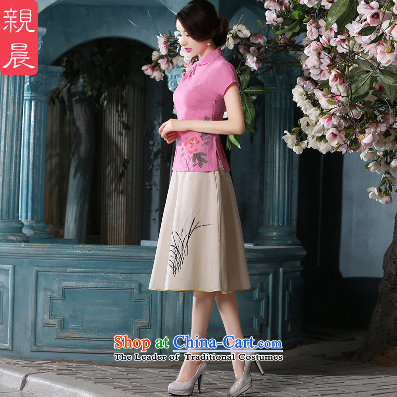 At 2015 new parent in summer and autumn in the long day-to-improved retro cotton linen dresses short-sleeved T-shirt qipao female shirt +聽10 days of skirt L