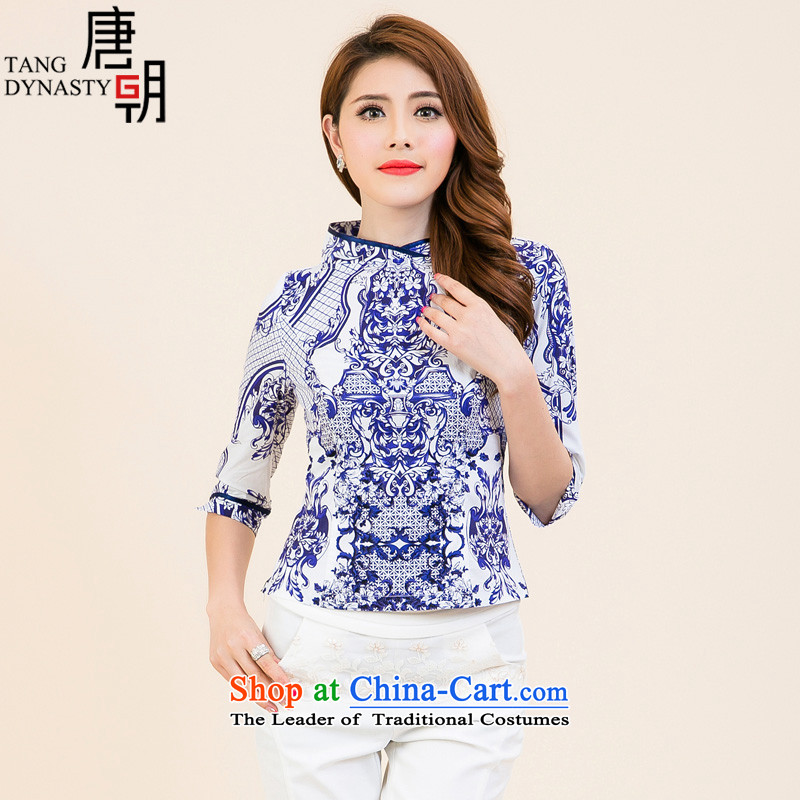 The Tang dynasty?2015 Autumn new ethnic Daily on 7 Improved qipao cuff Chinese Tang blouses women stamp Blue on White Jasmine?XXL