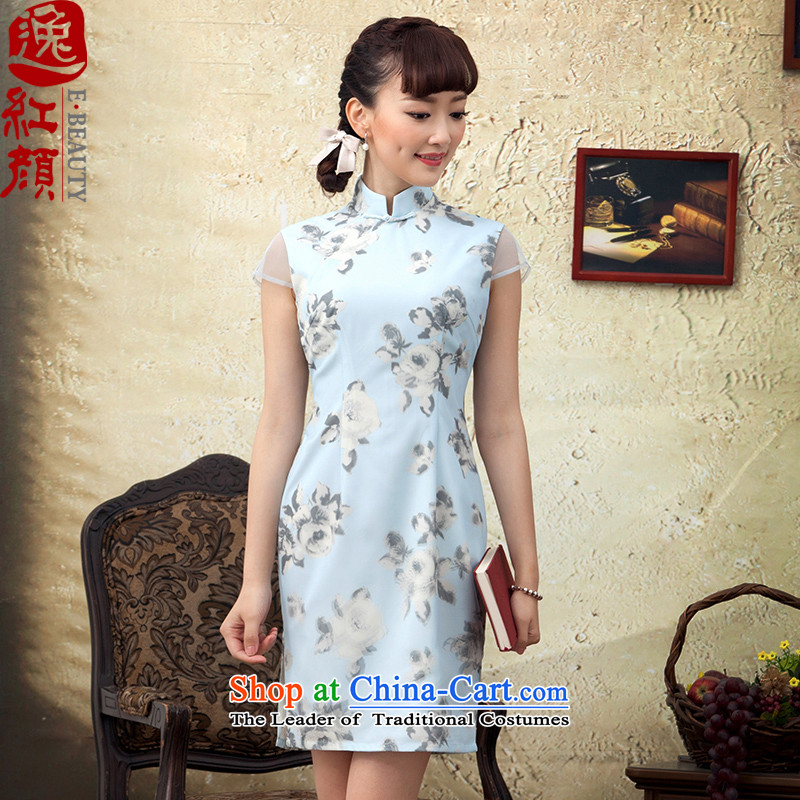 A Pinwheel Without Wind animation Chun Yat�2015 new stamp improved qipao short spring day-to-day cheongsam dress decorated in blue summer�2XL
