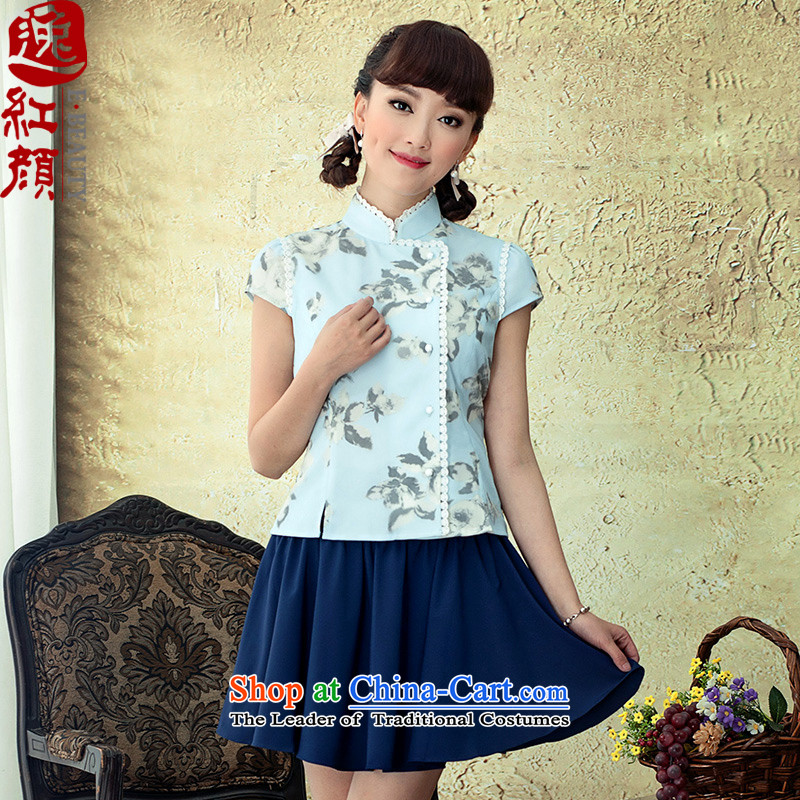 A Pinwheel Without Wind animation Chun Yat China wind Ms. Tang dynasty 2015 Spring/Summer ethnic women stamp qipao shirt retro blue L