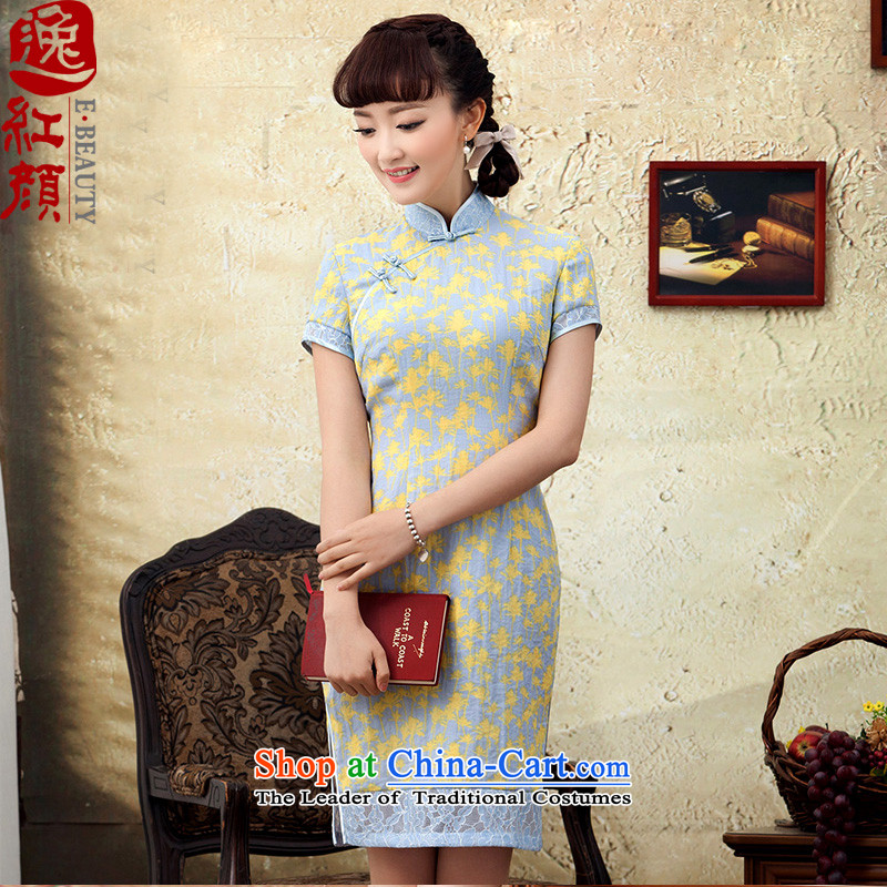 A Pinwheel Without Wind Yat Sweet Dreams聽by 2015 new stamp improved cotton linen dresses short spring summer day-to-day, cheongsam dress Yellow聽M