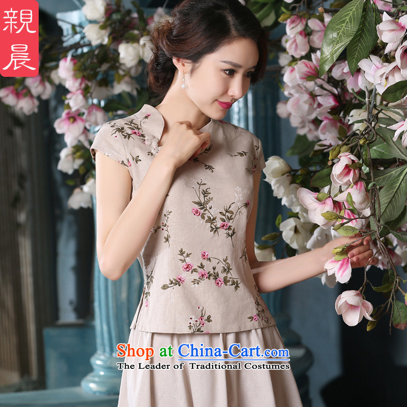 At 2015 new parent cheongsam dress clothes summer short, improvement of nostalgia for the day-to-cotton linen short-sleeved dresses, short-sleeved T-shirt 2XL