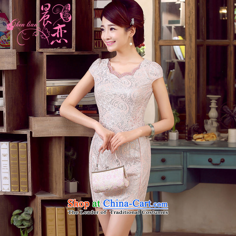 Morning new qipao land 2015 summer short of improvement and Stylish retro CHINESE CHEONGSAM LOW COLLAR tri-color pink?XL