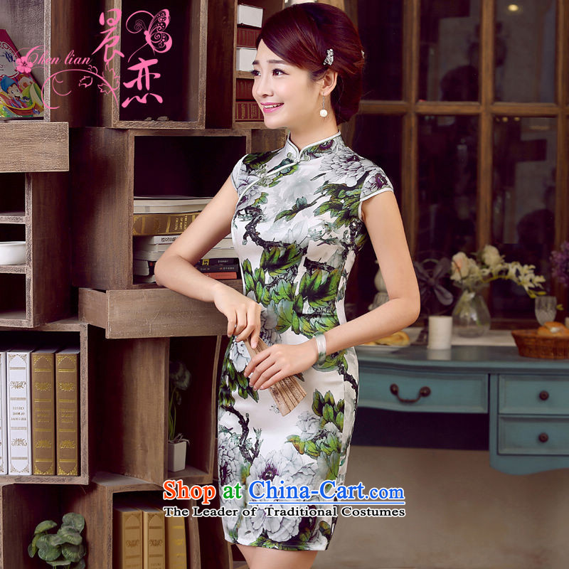 Morning new qipao land 2015 retro summer short-sleeved improved stylish herbs extract heavyweight silk cheongsam dress summer flowers suit燲XL
