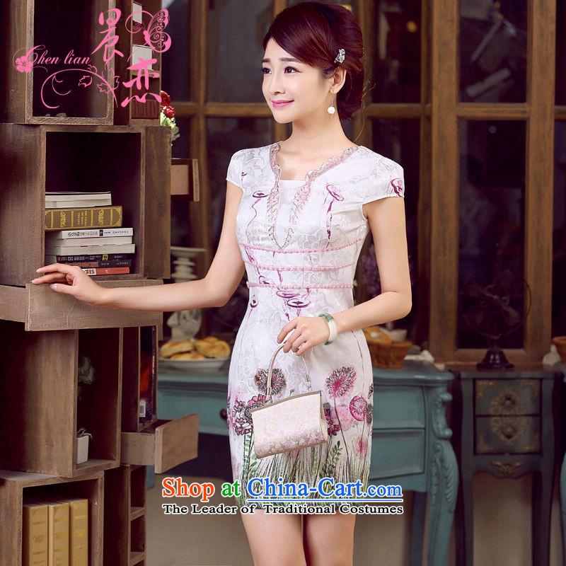 Morning new qipao land 2015 Summer retro short-sleeved improved stylish Chinese cheongsam dress V-Neck dresses Nga Yun?155/S Purple