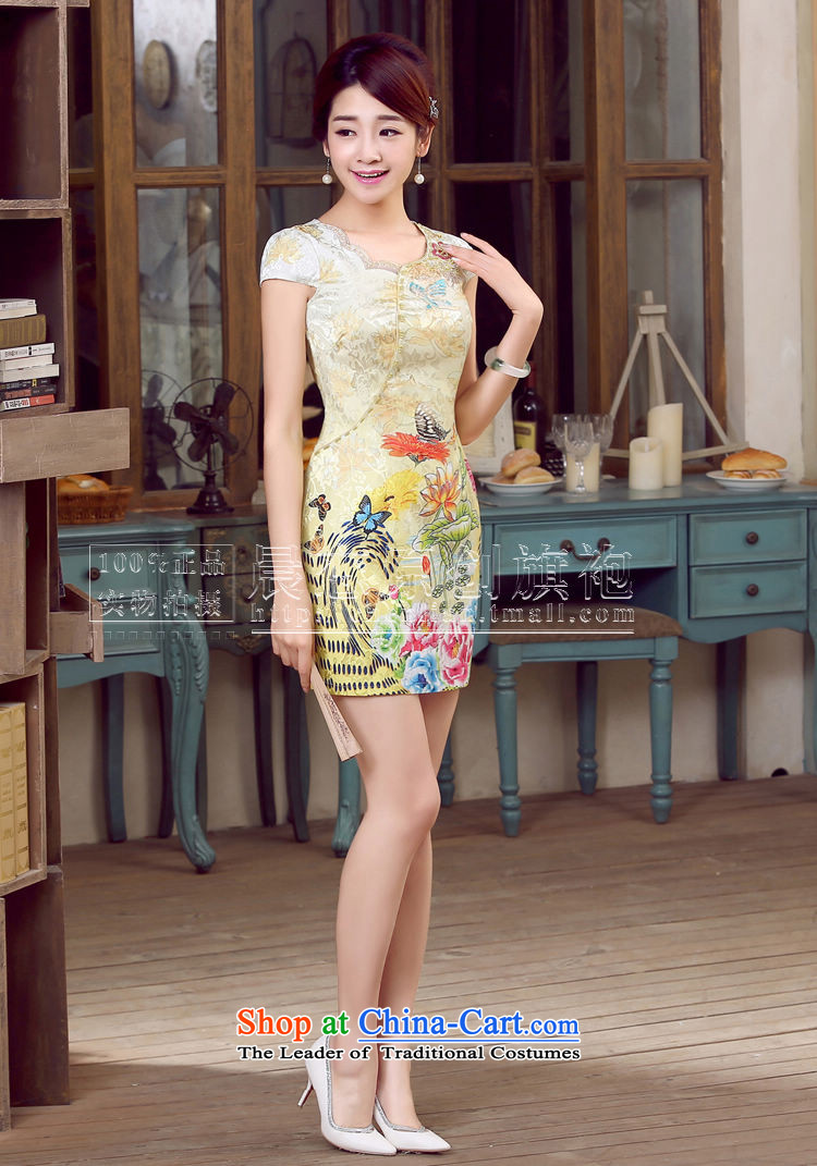 Morning new qipao land 2015 Summer retro short-sleeved improved stylish Chinese cheongsam dress low collar shadow blue XL Photo, prices, brand platters! The elections are supplied in the national character of distribution, so action, buy now enjoy more preferential! As soon as possible.