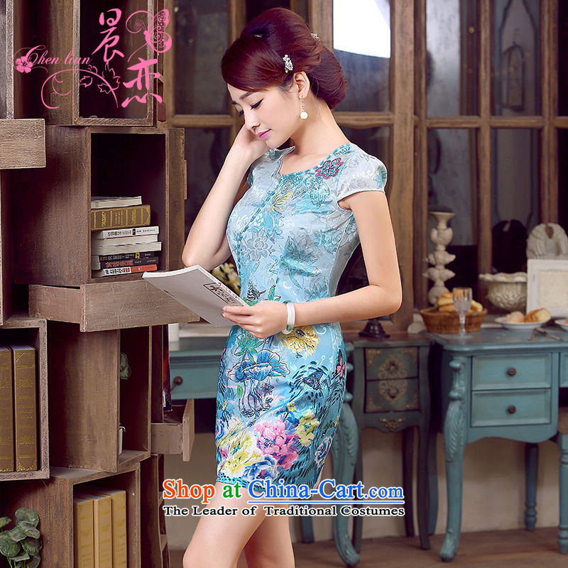 Morning new qipao land 2015 Summer retro short-sleeved improved stylish Chinese cheongsam dress low collar shadow blue XL