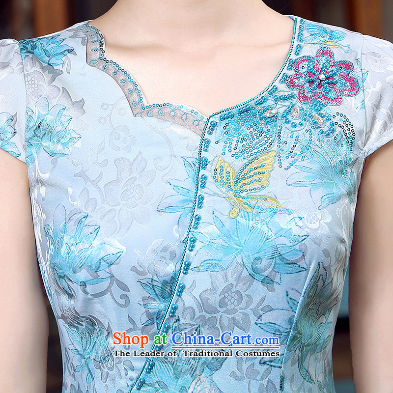 Morning new qipao land 2015 Summer retro short-sleeved improved stylish Chinese cheongsam dress low collar shadow blue XL, morning land has been pressed shopping on the Internet
